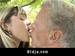 horny ash-blonde seduces elder dude to tear up