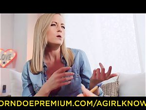 A nymph KNOWS - beautiful girly-girl blondes faux-cock action