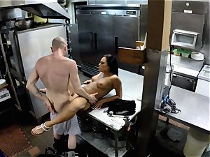 Gianna Nicole screwed in restaurant kitchen