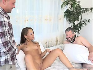 Holly Hendrix Cuckolds husband and Makes Him gobble cum