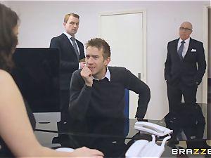 big-boobed secretary Tasha Holz gets a meaty meatpipe at work