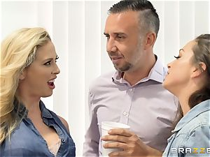fuck-a-thon addicted honies Abigail and Cherie share Kierans ample spunk-pump