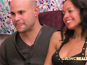 Matt and Alexis play around with other mischievous couples at the swing palace