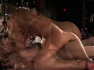 Barmaid Carter Cruise fucks her manager at work