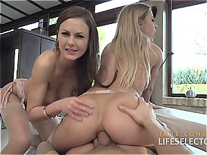 Tina Kay and Nikky Thorne share his pecker and his cum