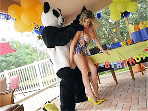 suspended guy in panda costume smashes milf Cory pursue