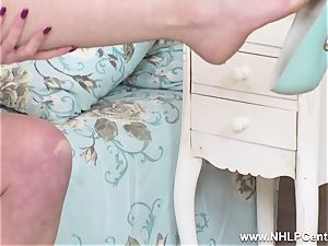 scorching milf milks in vintage undergarments nylons leather high-heeled shoes