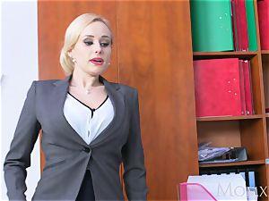 mother platinum-blonde meaty fun bags mummy inhales huge nerd manstick