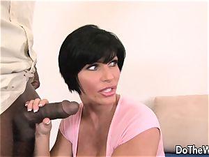 black-haired wife takes hefty ebony weenie