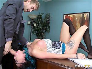Raven Bay takes her bosses giant boner throughout the desk