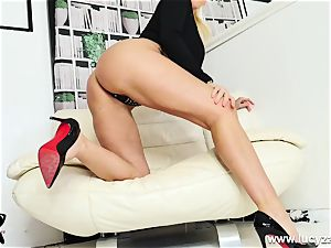 blond mummy Lucy Zara gets nude for JOI faux-cock plumbing