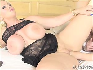biz female Alura Jenson makes her worker lick out his own jism out of her vagina