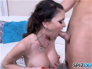 Jessica Jaymes catapults rock hard salami into her super-hot mouth