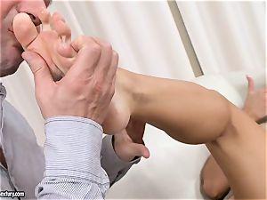 Aletta Ocean uses her stunning soles to wank fuckpole