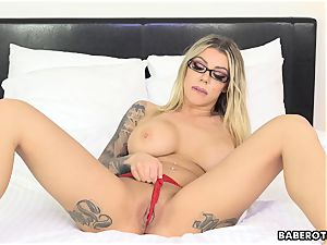 ultra-kinky Karma RX playthings her backside with a fake penis solo