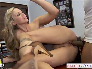 blondie teacher Julia Ann romping a big black cock