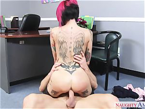 busty perv lady with large baps gets fucked on the office desk