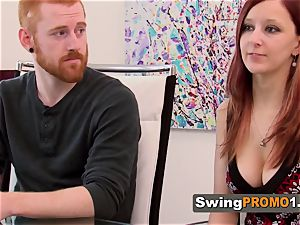 Ginger couple foreplays with other super-naughty swingers upon their arrival