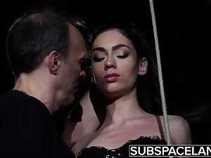 Arwen Gold bdsm session with intercourse playthings and leather flog