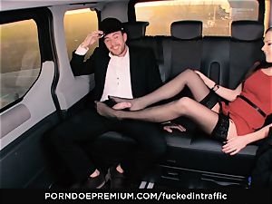 humped IN TRAFFIC Tina Kay footjob in the backseat