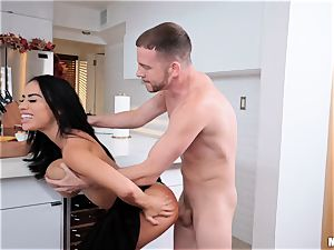 Victoria June thrashed in her tight minge in the kitchen