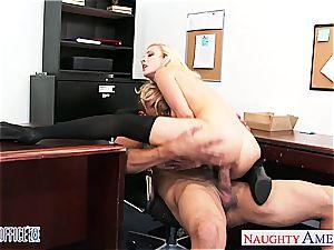good platinum-blonde Karla Kush humping in the office