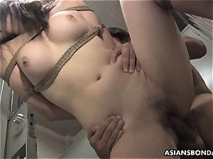 chinese hottie gets screwed with force behind the rafters