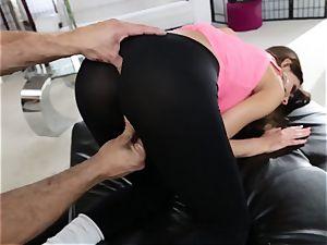 humungous donk latina August Ames gets her swarthy fuckbox nailing thru leggings