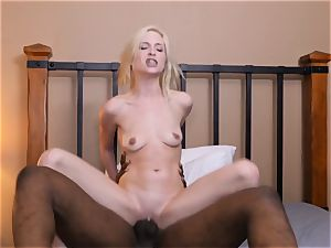 smallish light-haired Piper Perri gets her twat opened up by a hefty beef whistle