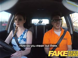 fake Driving school Nerdy red-haired teen student