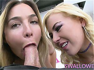 gulped 2 warm blondes that enjoy to gasp on a manstick