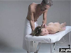 Joymii warm towheaded gets frosted in jism after her rubdown