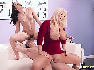 huge-boobed mommy helps stepdaughter during porno audition