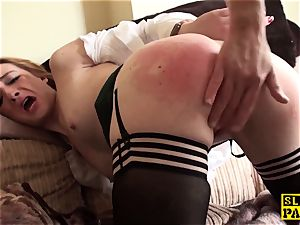 Ginger brit marionette bi-atch dominated in stockings