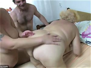 OldNanny grandma and mature masturbated wooly labia