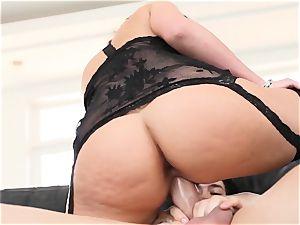 Phoenix Marie bounces her wet slit on a fat man-meat