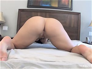 Alison Tyler milks with a glass fake penis for you