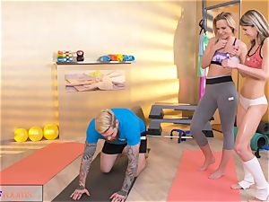 sport apartments insatiable women entice huge weenie gym trainer