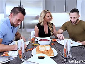 Phoenix Marie gets a super hot three-way at the dinner table