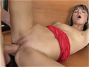 Doris Ivy tight cooter spread by ample man-meat